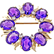 Tiffany & Co Amethyst Diamond 14k Yellow Gold Brooch