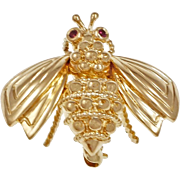Tiffany & Co Ruby 18k Yellow Gold Bee Brooch