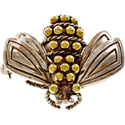 Tiffany & Co Silver 18k Yellow Gold Bee Brooch