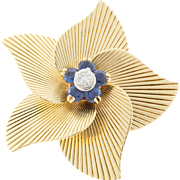 Tiffany &  Co Round Sapphire Diamond 18 Karat Yellow Gold Open Flower Pin