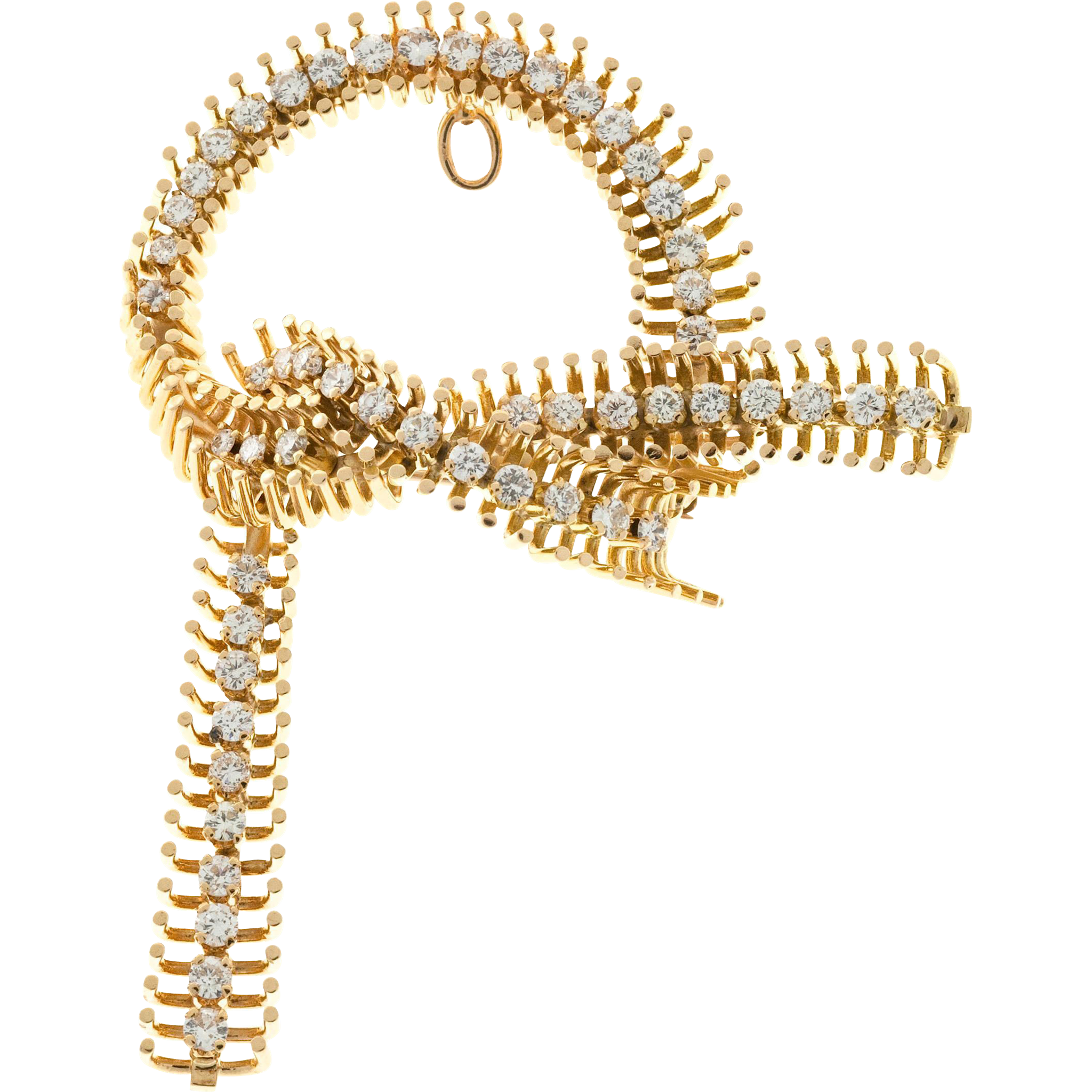 Vintage Diamond 14k Rose Gold 1940s Retro Bow Pin
