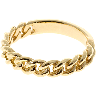 14 Karat Yellow Gold Open Chain Link Band Ring