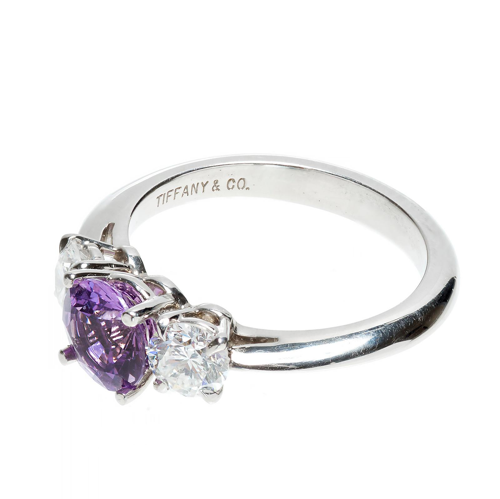 Tiffany & Co Purple Sapphire Diamond Platinum Engagement Ring from peters
