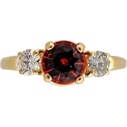 Tiffany Engagement Vintage .89ct Rare Orange Sapphire Diamond 18k Ring