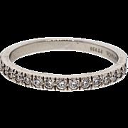 Tiffany & Co Diamond Flat Bead Set Platinum Wedding Band Ring