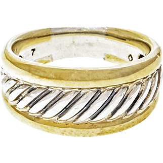David Yurman Sterling Silver 18 Karat Yellow Gold Cable Ring