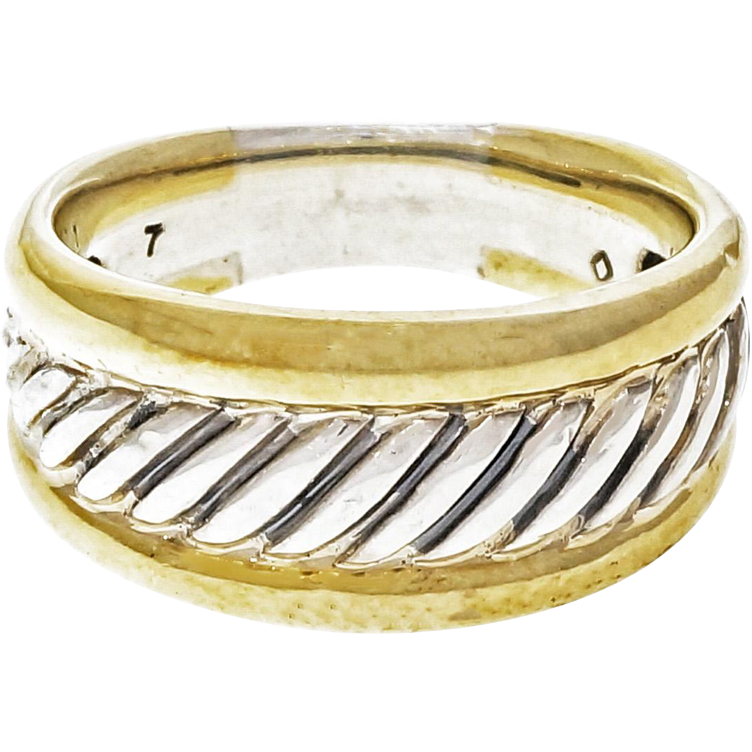 David Yurman Sterling Silver 18 Karat Yellow Gold Cable Ring