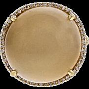 Natural 10.00ct Moonstone Diamond 14k Yellow Gold Cocktail Ring