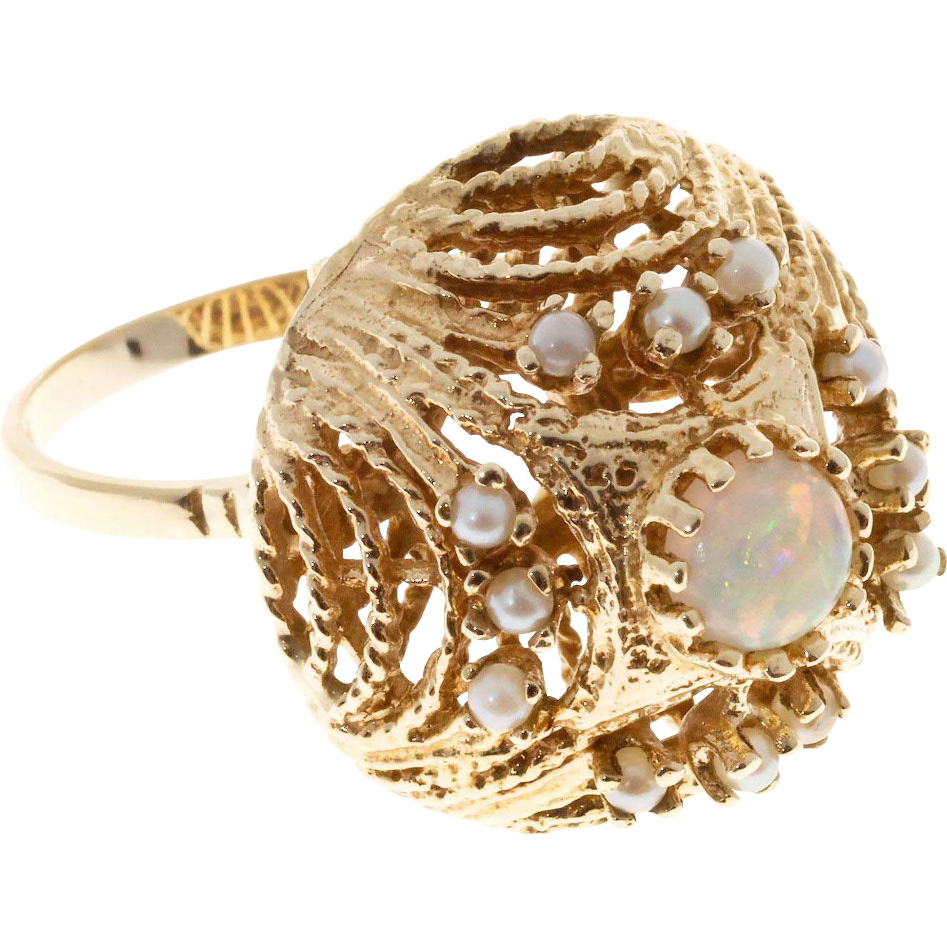 Opal Akoya Pearl Dome 14k Yellow Gold Cocktail Ring