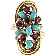 Persian Turquoise Ruby Diamond 14 Karat Yellow Gold Cocktail Ring