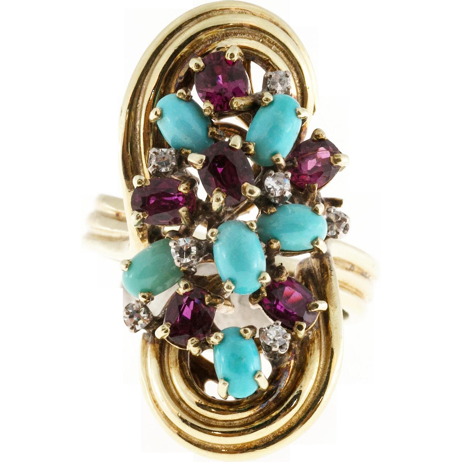 Persian Turquoise Ruby Diamond 14 Karat Yellow Gold Cocktail Ring