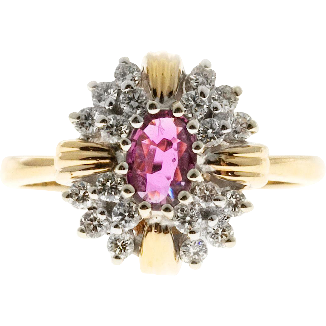 Oval Red Ruby Round Diamond 14 Karat Yellow White Gold Cocktail Ring