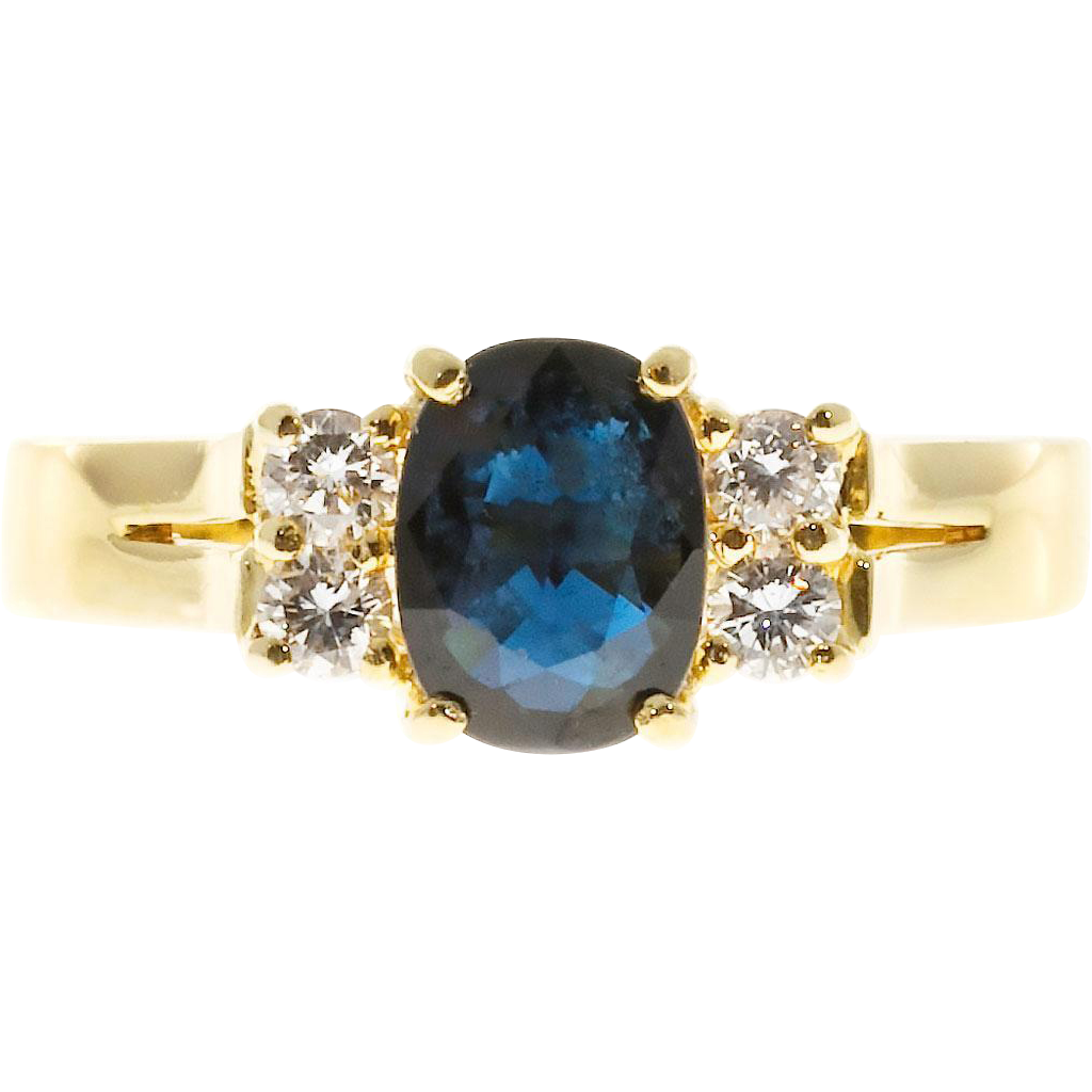 Oval Royal Blue Sapphire White Diamond 18k Yellow Gold Engagement Ring from p