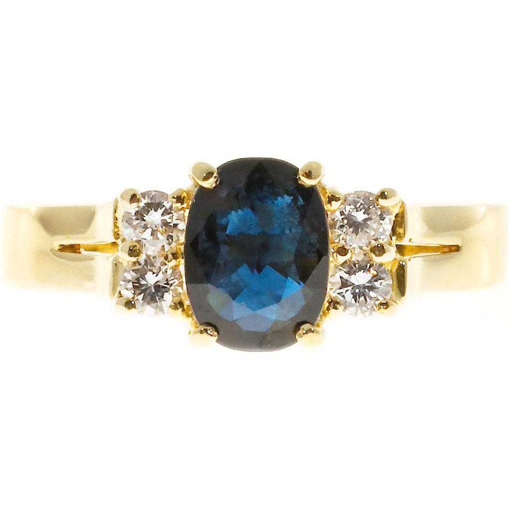 Oval Royal Blue Sapphire White Diamond 18k Yellow Gold Engagement Ring