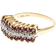 3 Row Red Ruby White Diamond 10 Karat Yellow Gold Ring