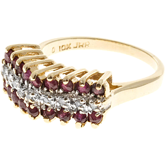 3 Row Red Ruby White Diamond 10 Karat Yellow Gold Ring