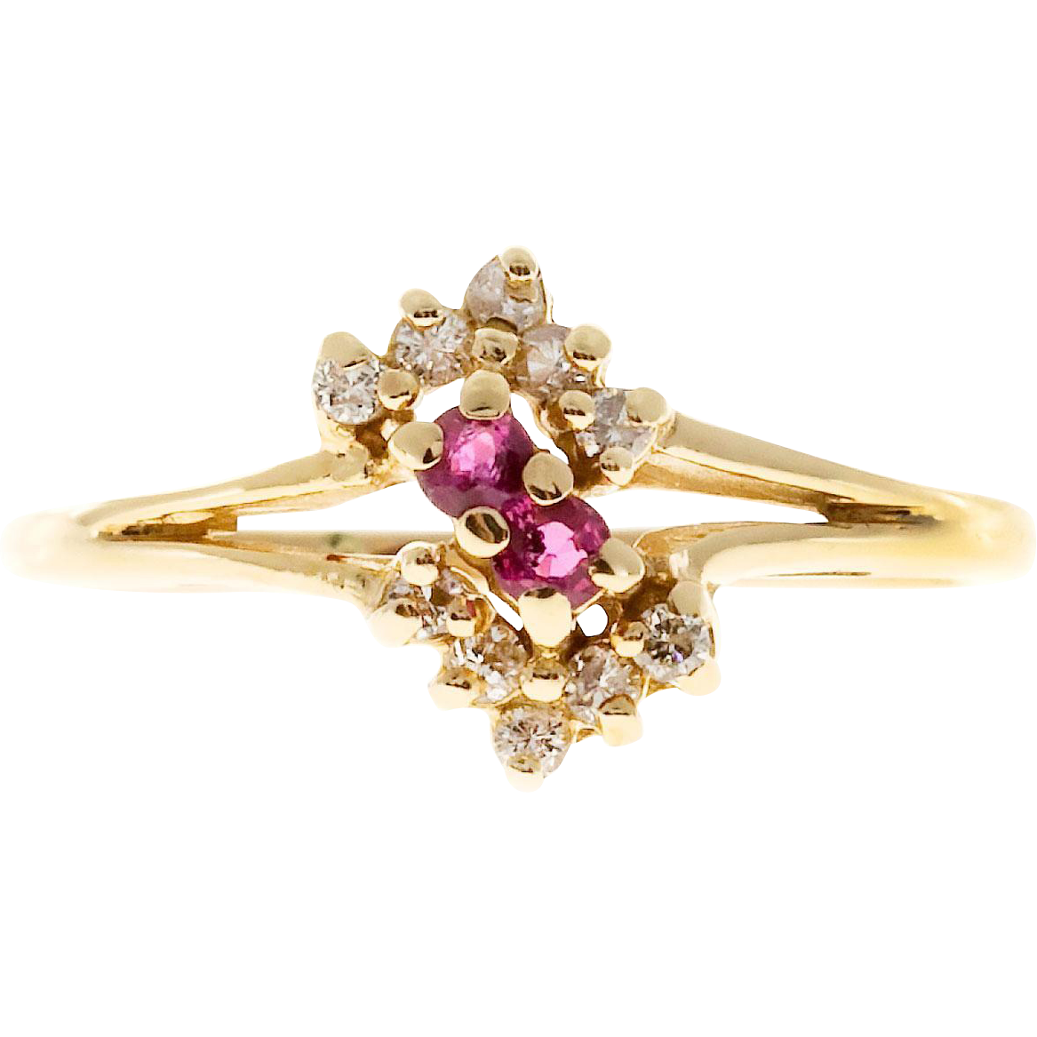 Bright Red Ruby Round Diamond 14 Karat Yellow Gold Swirl Ring