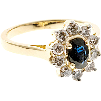 Oval Blue Sapphire Diamond 14 Karat Yellow Gold Classic Ring