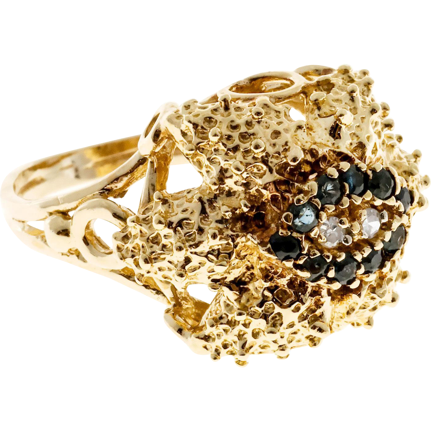 Sapphire Round Diamond 14 Karat Yellow Gold Textured Dome Cocktail Ring