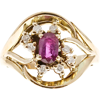 Open Swirl Ruby Diamond 14 Karat Yellow Gold Cocktail Ring