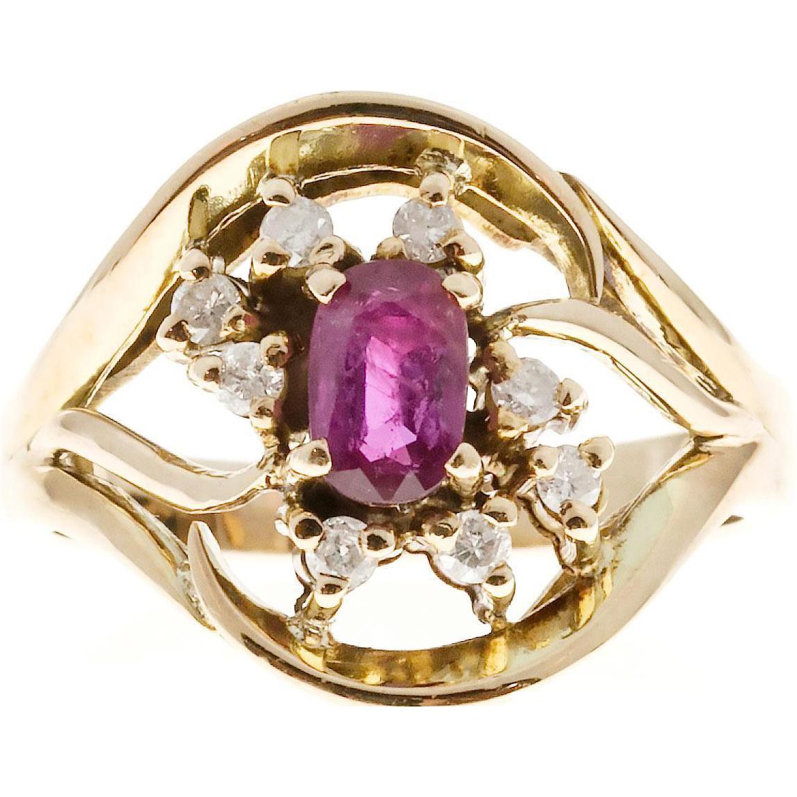 Open Swirl Ruby Diamond 14 Karat Yellow Gold Cocktail Ring