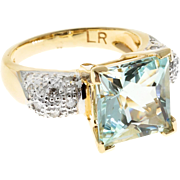 Natural Aqua Pave Diamond 14 Karat Yellow Gold Cocktail Ring