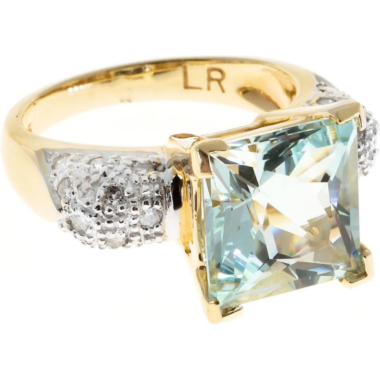 Natural Aqua Pave Diamond 14 Karat Yellow Gold Cocktail Ring