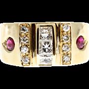 Round Ruby Diamond 14 Karat Yellow Gold Modern Cocktail Ring