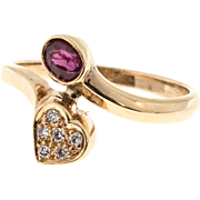 Oval Ruby Round Diamond 14 Karat Yellow Gold Bypass Heart Shape Ring