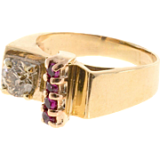 Brown Diamond Ruby 9 Karat Rose Gold Platinum Ring
