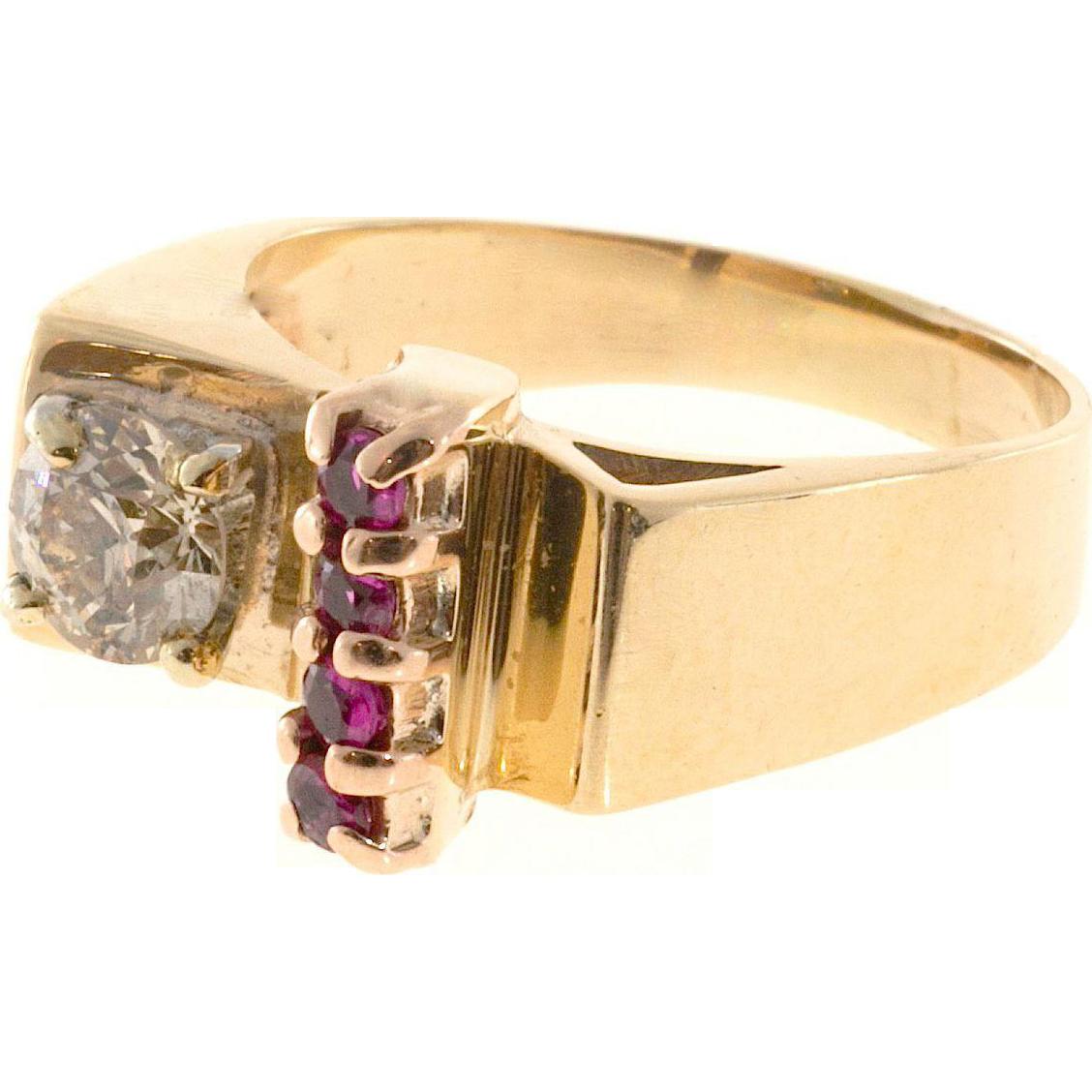 Brown Diamond Ruby 9 Karat Rose Gold Platinum Ring