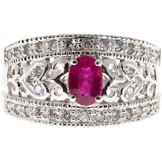 Oval Red Ruby Round Diamond 14 Karat White Gold Pierced Cocktail Ring