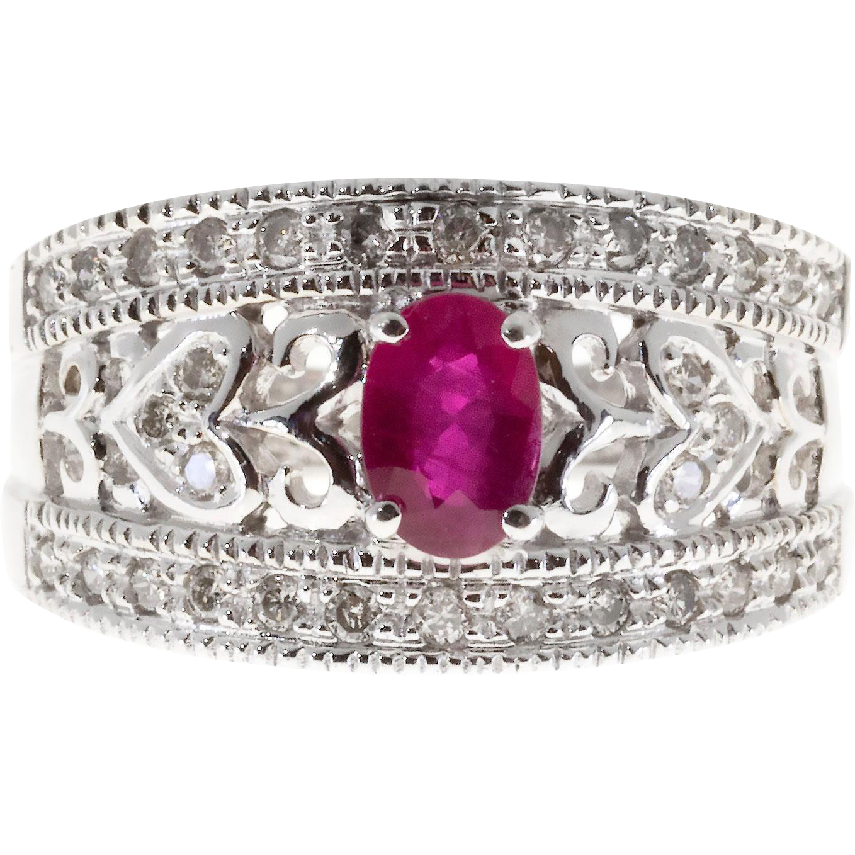 Oval Red Ruby Round Diamond 14 Karat White Gold Pierced Cocktail Ring