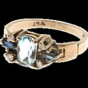 Aquamarine Sapphire Diamond 14 Karat Yellow Gold Ring