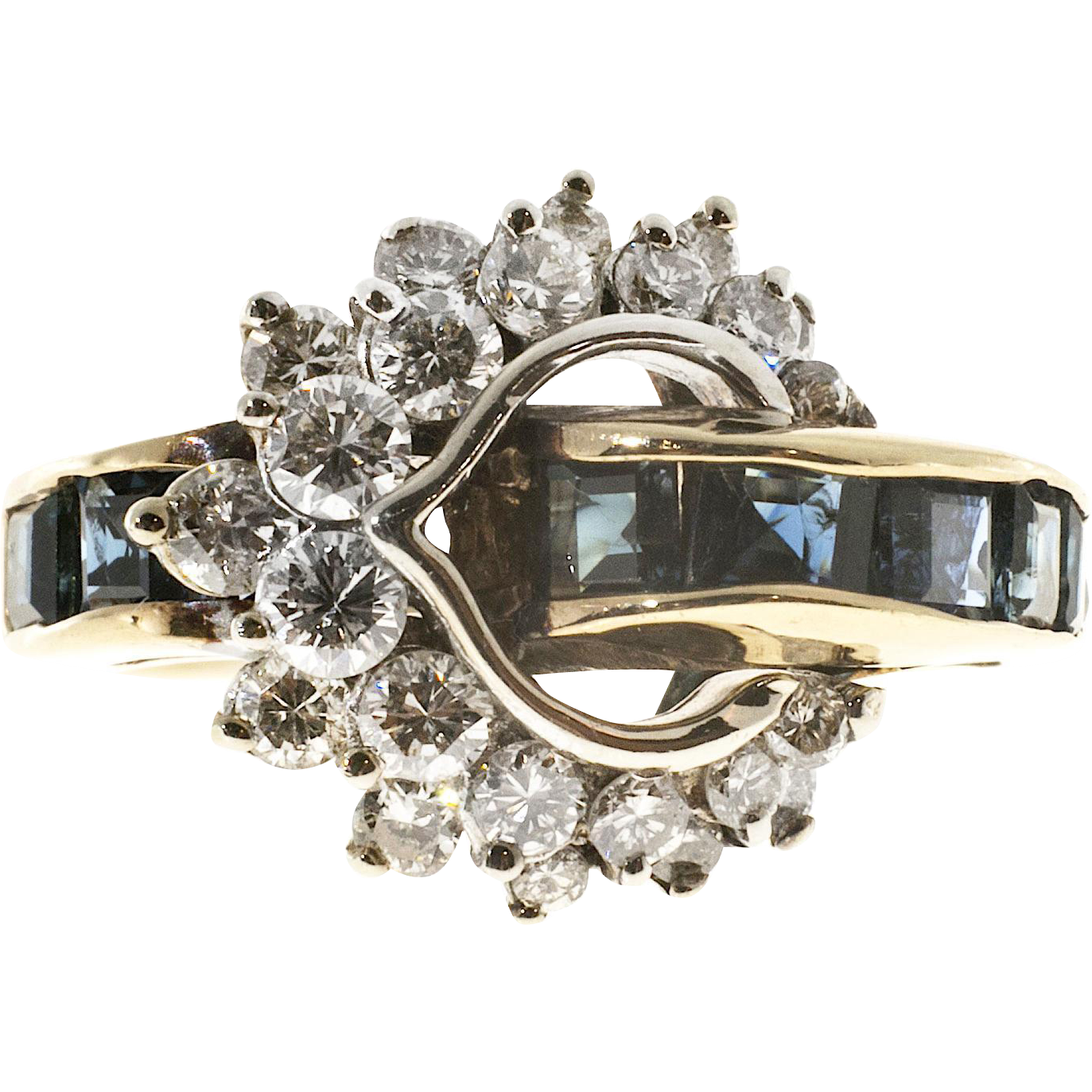 Square Blue Sapphire White Diamond 14 Karat Yellow White Gold Cocktail Ring