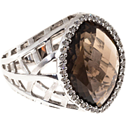 Marquise Brown Topaz Diamond 14 Karat White Gold Cocktail Ring