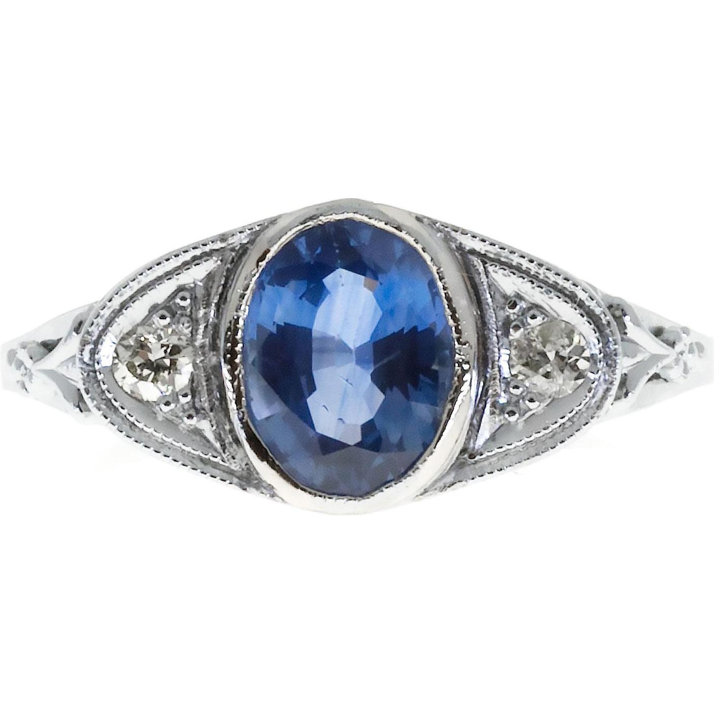 Sapphire Diamond Engraved Filigree 14 Karat White Gold Engagement Ring