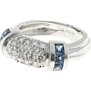 Judith Ripka Sapphire Diamond 18 Karat White Gold Dome Ring