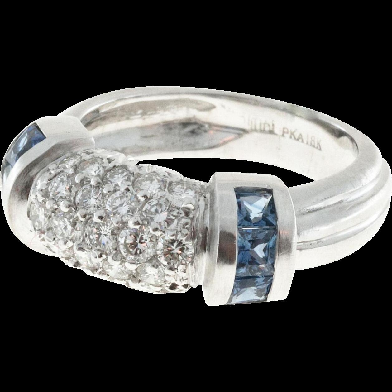 Judith Ripka Sapphire Diamond 18 Karat White Gold Dome Ring