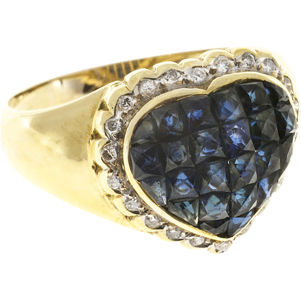 Diamond Sapphire 18 Karat Yellow Gold Heart Cocktail Ring