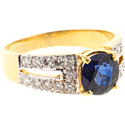 Round Sapphire Pave Diamond 20 Karat Yellow White Gold Ring