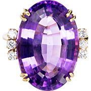 Oval Amethyst Round Diamond 18 Karat Yellow Gold Cocktail Wire Ring
