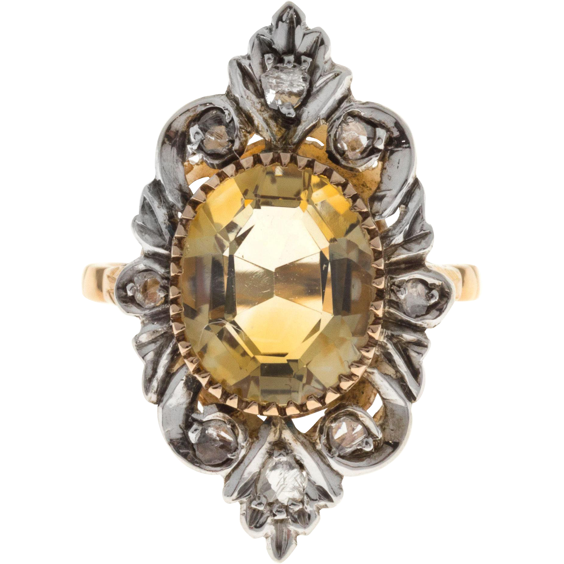 Oval Citrine Rose Cut Diamond 14 Karat Yellow Gold Silver Cocktail Ring