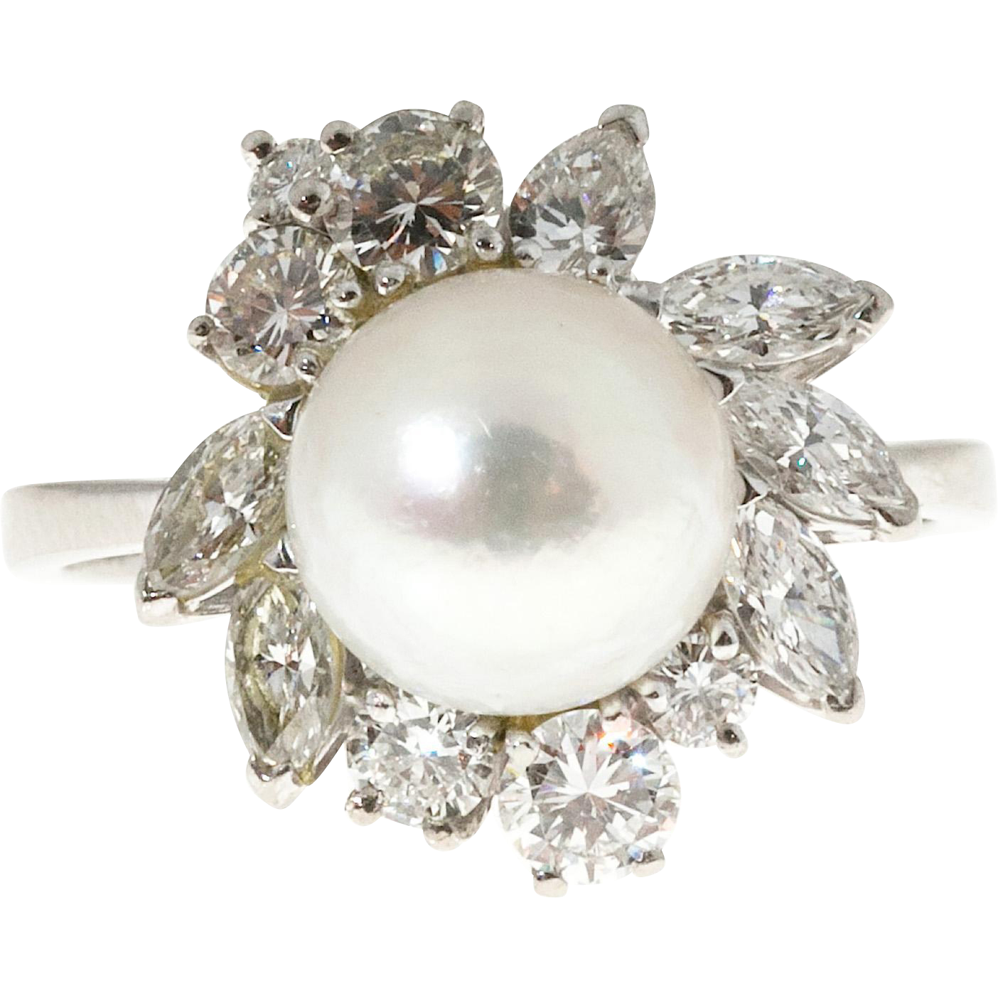 Cultured Pearl Diamond 18 Karat White Gold Cocktail Ring
