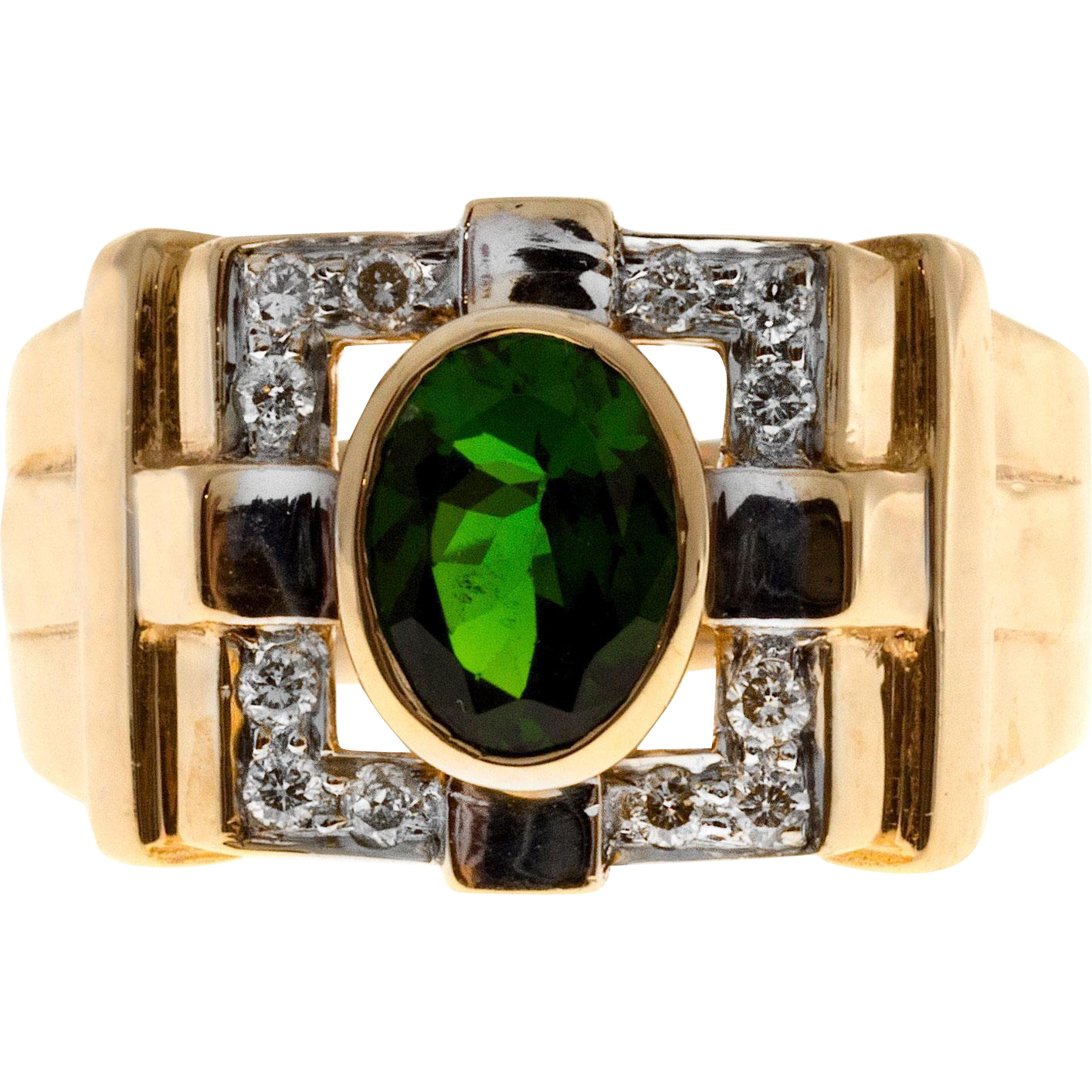 Green Oval Tourmaline Diamond 14 Karat Yellow Gold Cocktail Ring