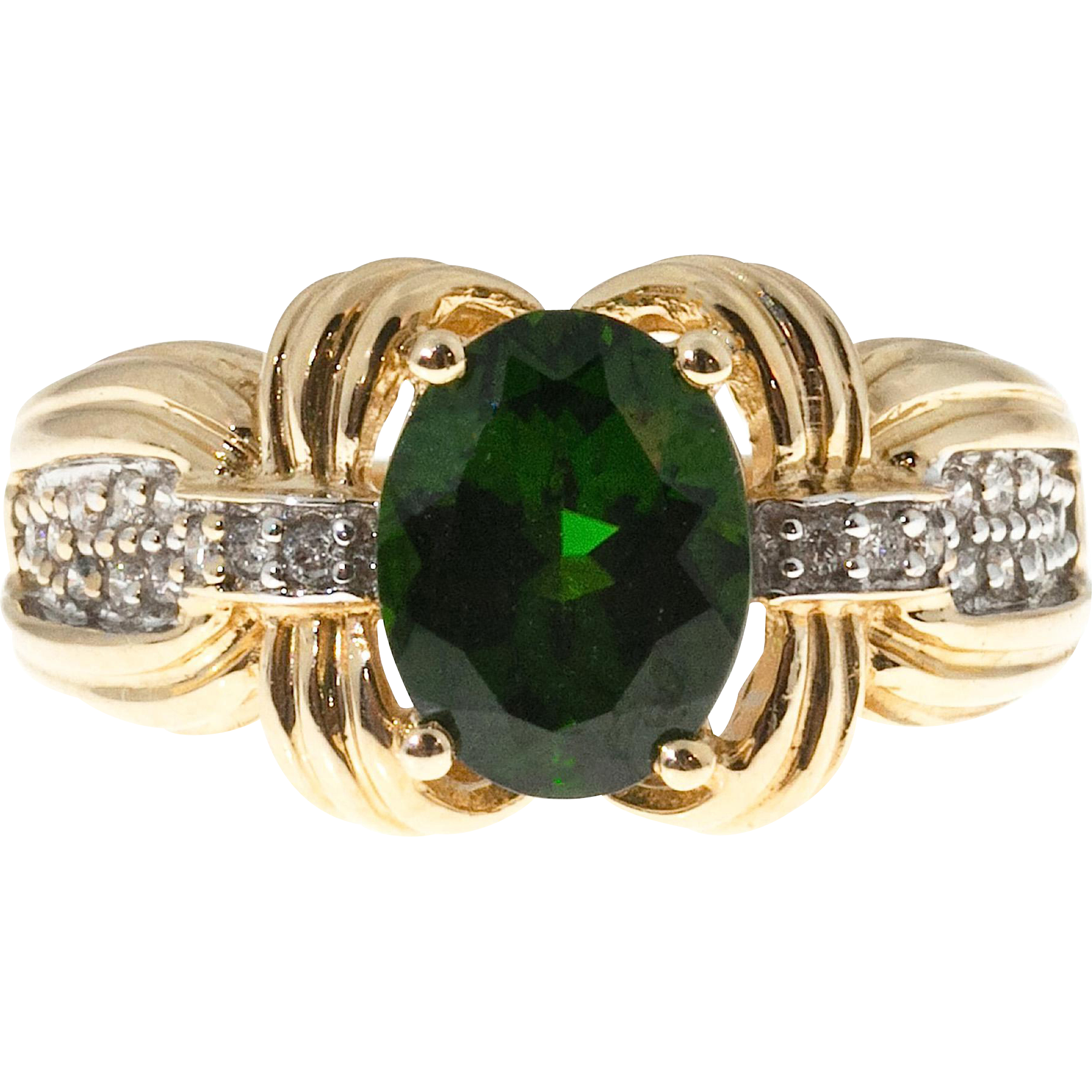 Green Tourmaline Diamond 14 Karat Yellow Gold Cocktail Ring