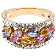 2.50ct Multi Color Sapphire Diamond 14k Yellow Gold Cocktail Ring