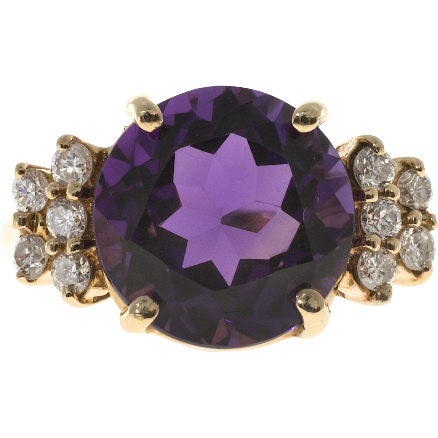 Round Amethyst Diamond 14 Karat Rose Gold Cocktail Ring