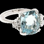 Aqua Diamond 18 Karat White Gold Cocktail Ring