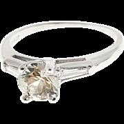 Art Deco White Sapphire Baguette Diamond Platinum Engagement Ring